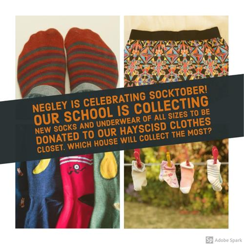 Negley is collecting socks and underwear in October to donate to the Hayscisd Clothes closet.