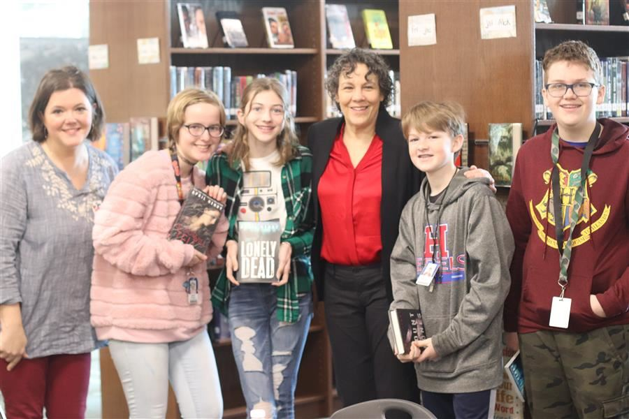 Barton Students and Librarian with April Henry