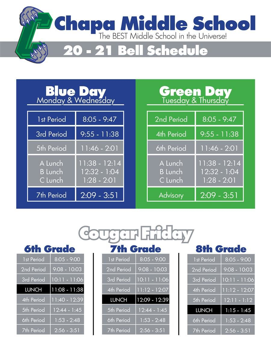 20-21 Bell & Lunch Schedules!!