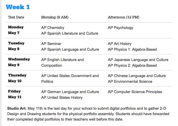 AP Exam Information / AP Exam Dates