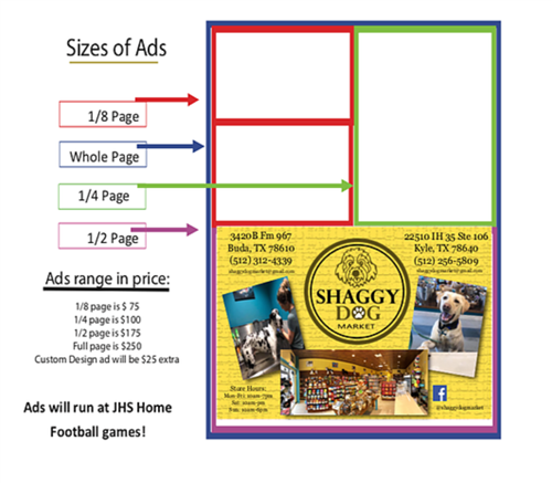 Sizes of ads