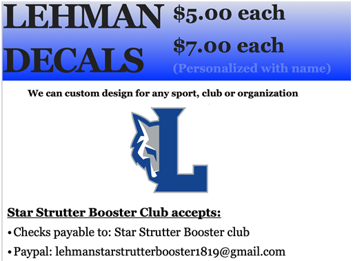 Star Strutter Booster Club- Decals (click here for order form)