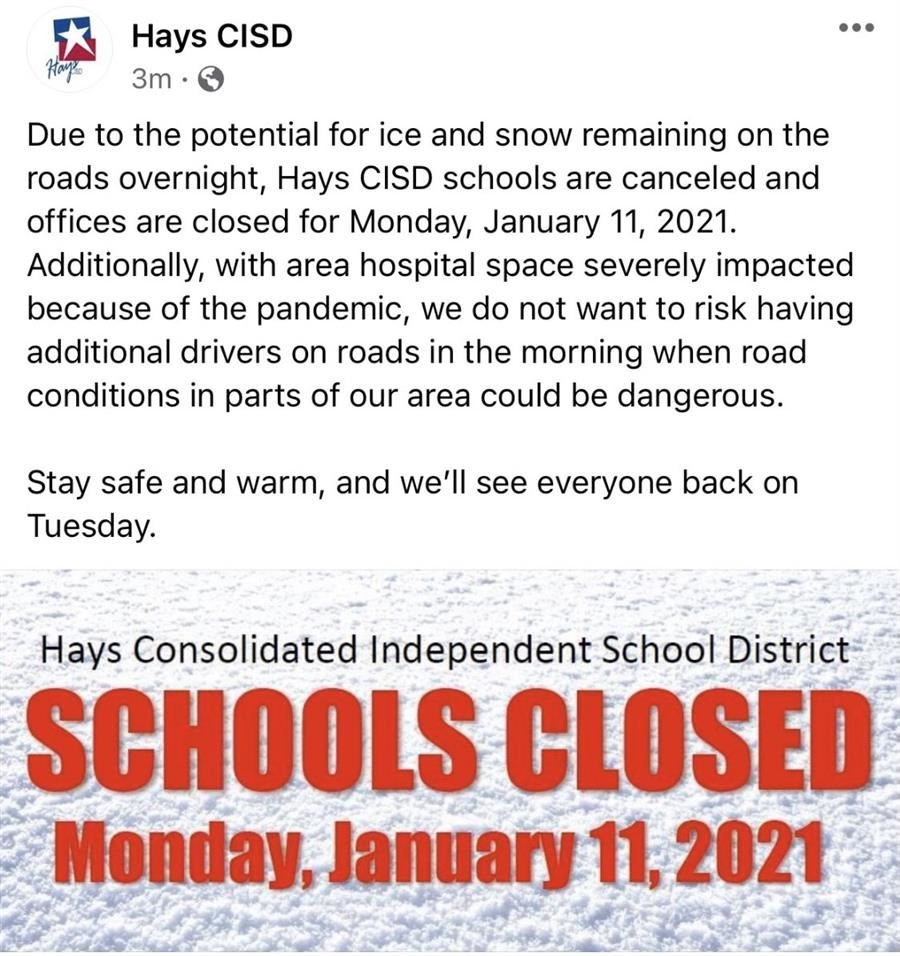 School Closed Monday, January 11th