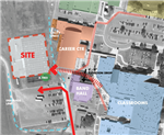 link to larger PDF photo of the site map location of the music building on the campus grounds.