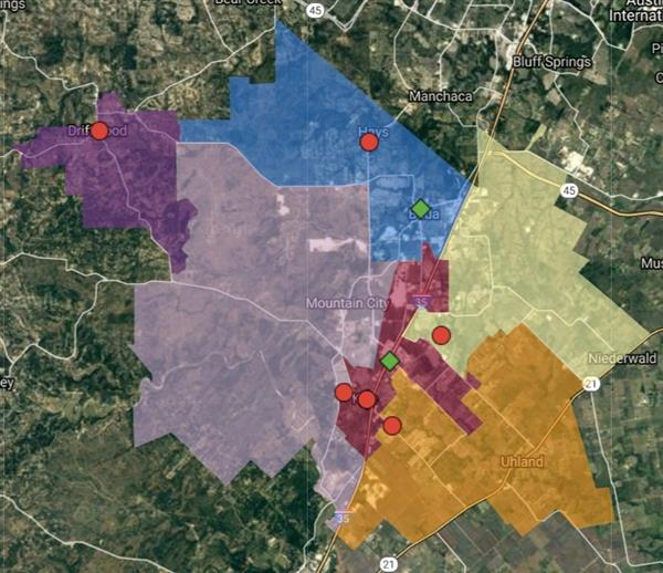 This is a picture of the Hays CISD election district map.