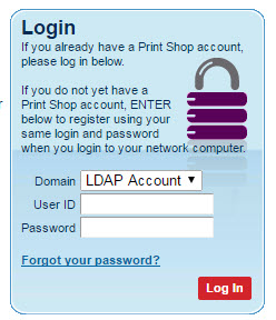 printshop login screenshot