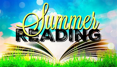 graphic of an open book with the words summer reading hovering above the book
