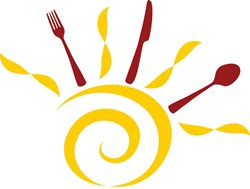 graphic of sun with fork knife and spoon