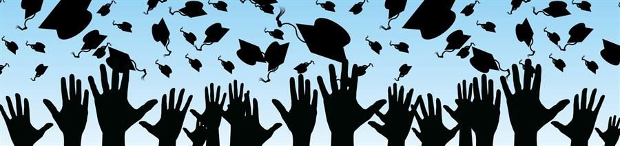 decorative photo of graduation caps in the air.