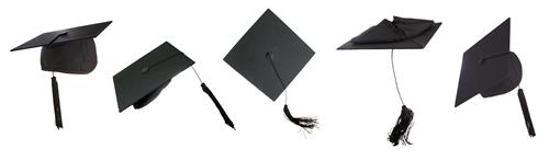 decorative photo of graduation hats