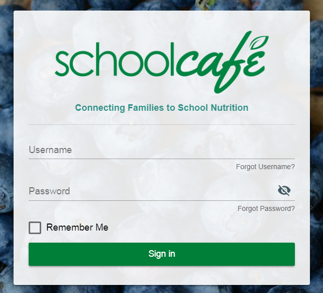 schoolcafe login screen image