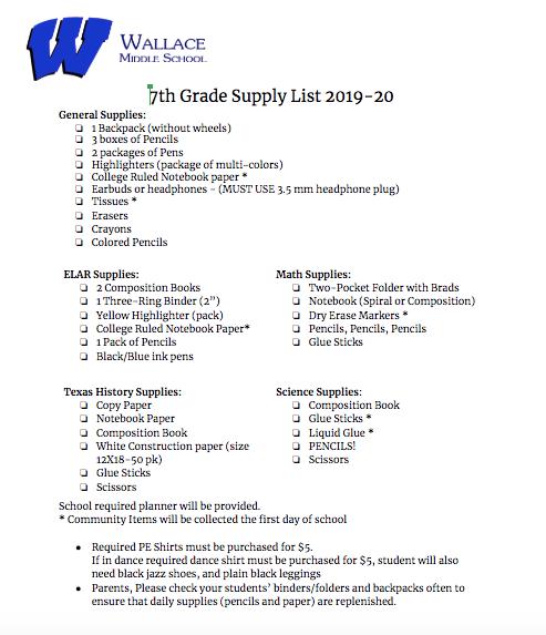 School Supplies / WMS 7th Grade Supplies